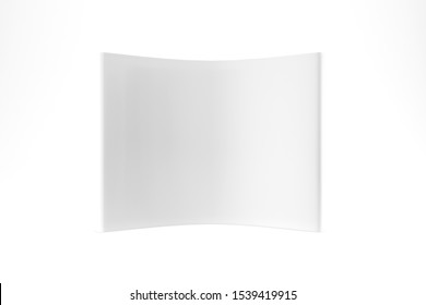 Spring Pop Up mockup stand front view. Curved matte surface white background. 3d rendering