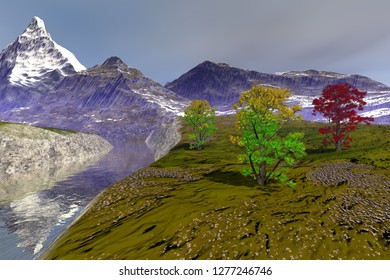 Spring in the river, 3d rendering, an alpine landscape, snowy mountain, beautiful trees and clouds in the sky.