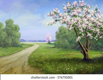 Spring, road, landscape paintings.Digital art.