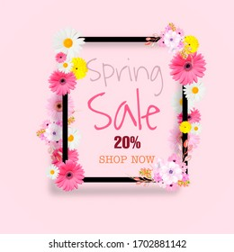 Spring sale background with beautiful illustration