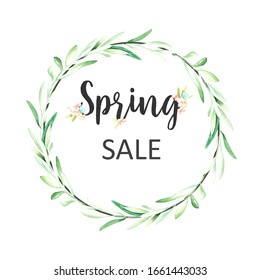 Spring sale banner. Floral wreath frame template. Perfect for promotions, magazines, advertising, web sites.