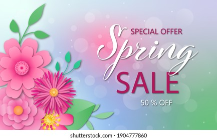 Spring sale banner with paper cut flowers. Up to 50 off.  illustration. Design for your poster, banner, flyer.