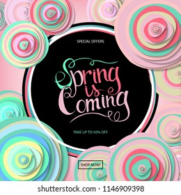 Spring sale banner with paper flowers and gold frame. Best Price. Up to 50 off. Raster copy