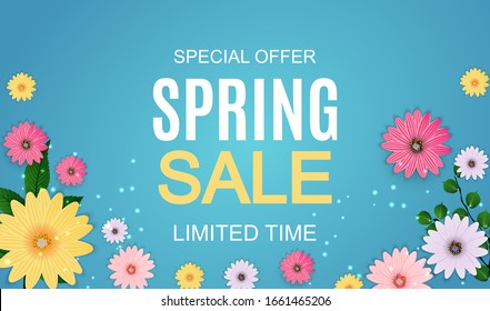 Spring Sale Cute Background with Colorful Flower Elements.  Illustration