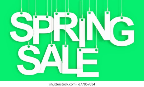 Spring Sale hanging Letters over green background 3D rendering