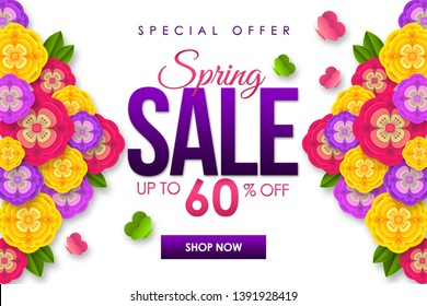 Spring sale Promotional banner background with colorful flower for Special spring offer 60% off. Can be used for template, banners, flyers, posters, special offer, promotional sale