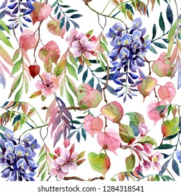 Spring season art background. Watercolor wisteria flower, sakura blossom, tree branches, colorful leaves. Floral seamless pattern. Hand painted illustration