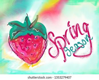 Spring season, strawberry illustration