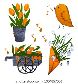 A spring set illustration iclluding tulip and snowdrop flowers, funny bird, melody notes, a waggon and a bucket. Cartoon characters for children. A bouquet of flowers.