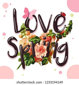 Spring sound, a romantic slogan for you or a stylish romance on a small youth summer for the winners. Typography with  rock animals, a lovable print for t-shirts for girls. Illustration.