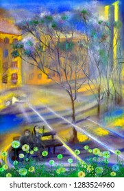 Spring street with dandellions, oil painting artwork