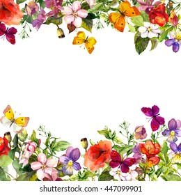 Spring, summer garden: flowers, grass, herbs, butterflies. Floral pattern. Vintage watercolor
