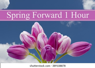 Spring Time Change, Some tulips with blue background and text Spring Forward 1 Hour