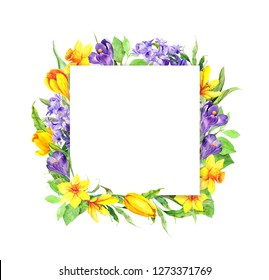 Spring time flowers. Floral card, square frame. Watercolor in vintage style with easter blossom - narcissus, crocus, hyacinth