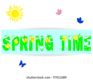 Spring time a label with yellow daffodils, the sun and butterflies. Raster version.