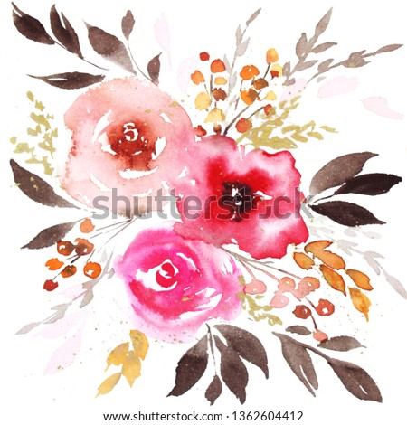 Spring Watercolor Abstract Flowers Royalty Free Stock Image