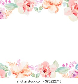 Spring Watercolor Flower Border Background with Pink and Red Floral Elements