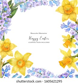 Spring watercolor frame with daffodil and hyacinth flowers on a white background, clipping path included