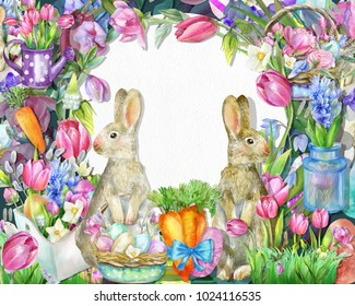 Spring watercolor frame with easter bunnies