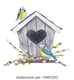 Spring watercolor illustration of a birdhouse with birds tit, willow branches, Easter illustration