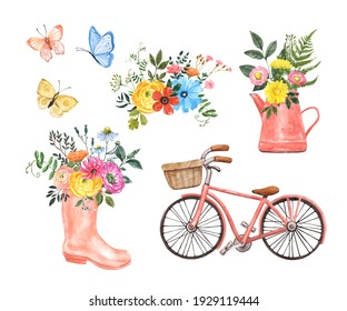 Spring watercolor illustration. Cute pink bicycle with basket, flowerpot, colorful floral bouquet, rain boot with flowers, flying butterflies, isolated on white background. Pink, yellow, blue colors.
