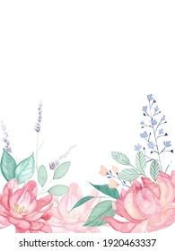 Spring wild flower frame, border, wedding invitation, bridal shower, baby shower, mothers day card