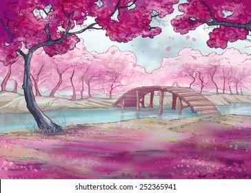 Spring.Cherry blossom.  Japanese garden.Illustration.