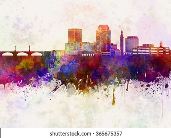 Springfield MA skyline in watercolor background