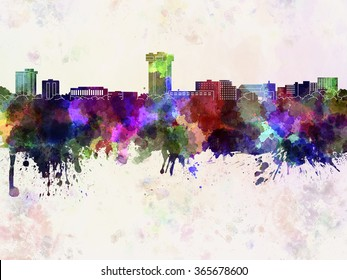 Springfield MO skyline in watercolor background