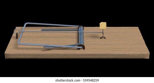 Spring-loaded bar mousetrap isolated on black. Side view 3d render.