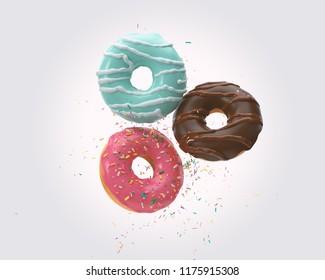 sprinkled Donut on White Background 3d illustration.