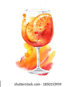Spritz with orange cocktail with watercolor splashes on white background. Alcohol drink illustration.