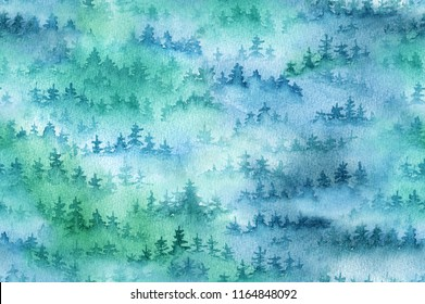 Spruce-fir forest in fog. Watercolor seamless pattern
