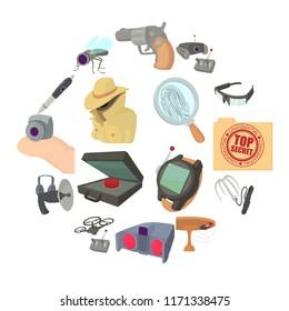 Spy and security icons set. Cartoon illustration of 16 spy and security icons for web