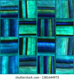 Square abalone pattern seamless texture, panel, 3d illustration