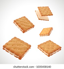 Square Biscuits salty crackers with Milk cream, design element for Product package with clipping path. 3D illustration.