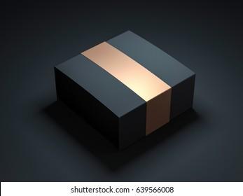 Square Black Box with golden label in dark studio. 3d rendering