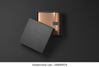 Square Black Box with Golden wrapping paper and label sticker. 3d rendering