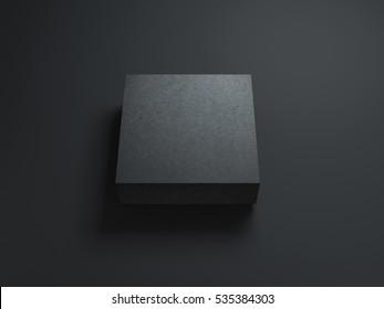 Square Black Box Mockup on dark background. 3d rendering