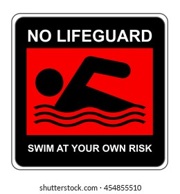 The Square Black and Red No Lifeguard Swim At Your Own Risk Sign Isolated on White Background