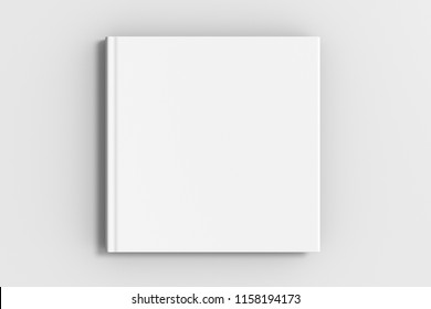 Square blank book cover mockup on white background with clipping path around book. 3d illustration