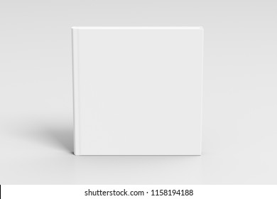 Square blank book cover mockup standing on white background with clipping path around book. 3d illustration