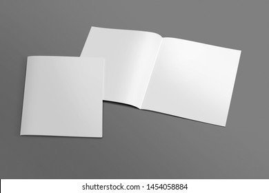 Square Blank opened and closed 3D illustration Brochure mock-up with cover. Book, Magazine, Pamphlet, Catalog empty mockup for Presentation on isolated dark background. 3D illustrating