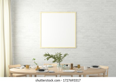 Square blank poster on white brick wall in interior of modern dining room. Clipping path around poster. 3d illustration