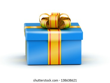 Fancy Blue Gift Box Ribbon Images Stock Photos Vectors