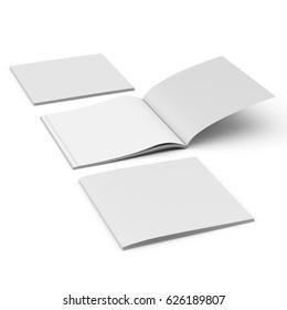 Square book mock-up. 3D rendering