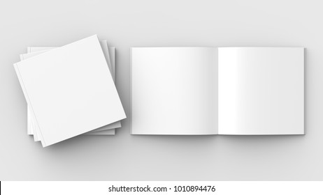 Square brochure, magazine, book or catalog mock up isolated on soft gray background. 3D illustrating.