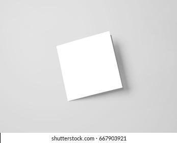Square Brochure Mock-up, Realistic Rendering of Square Brochure Mock-up on Isolated White Background, 3D Illustration