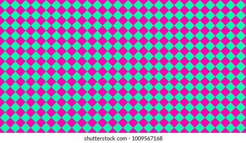 Square cells of medium spring green and deep pink color on checkerboard seamless geometric pattern