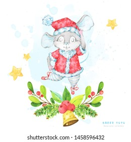 Square Christmas and New year 2020 greeting card with a watercolor illustration of a cute cartoon rat, mouse, ballet dancer, in a red costume with snowflake pattern